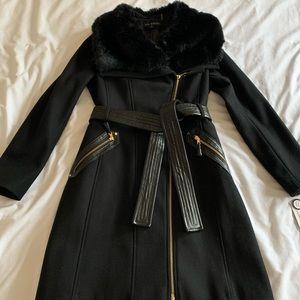 Black zipper wool long coat